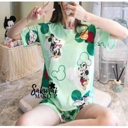 Pijama Mickey Verde Short y...